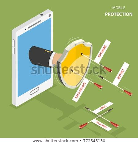 Trojański smartphone zakażony malware 3d ilustracji telefonu Zdjęcia stock © limbi007