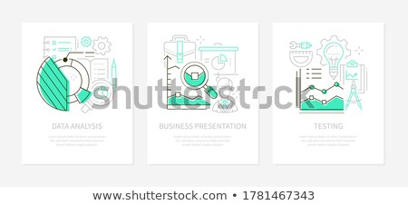 Analytics concept - line design style banners set Stock photo © Decorwithme