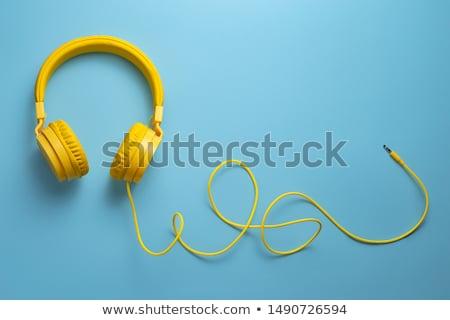 Headphones with jazz cable on white Stock photo © goir