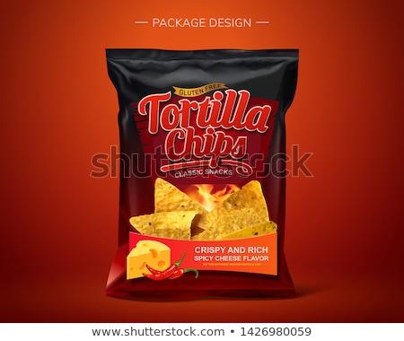 Ropogós chip cheddar sültkrumpli sajt felszolgált Stock fotó © grafvision