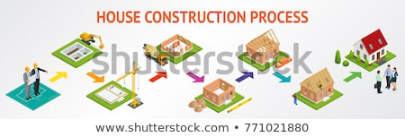 Construct House Isometric Icon Vector Illustration Stock photo © pikepicture