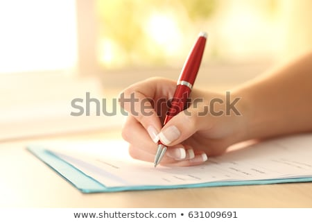 Young woman holding up a red file Stock photo © photography33