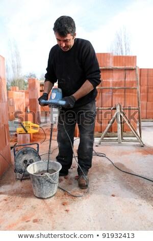 Cement habaró férfi építkezés ipar dolgozik Stock fotó © photography33