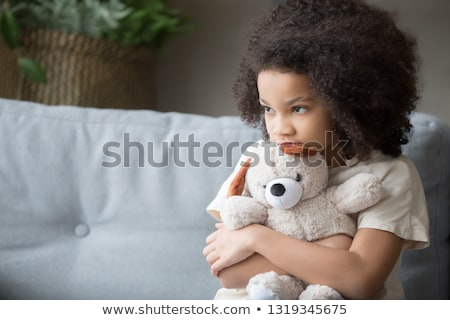 Girl and toy bear Stock photo © pzaxe