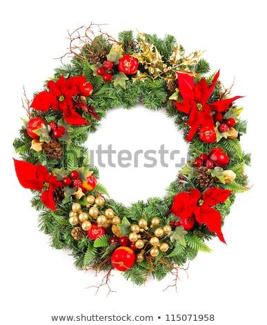golden apples and flower christmas decoration stock photo © sirylok