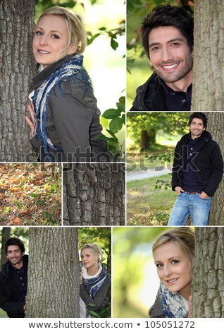 Mosaic of couple stood in the woods Stock photo © photography33