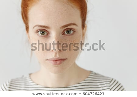 Foto stock: Retrato · gengibre · mulher · sorrir · cara
