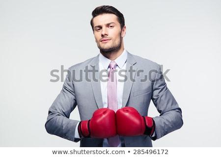 Boks işadamı Asya boks eldivenleri tam uzunlukta portre Stok fotoğraf © elwynn