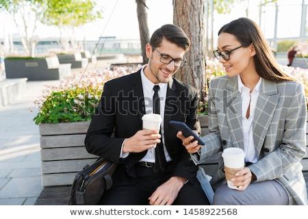 ストックフォト: ビジネスマン · 作業 · 屋外 · 背面図 · 白人