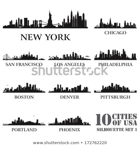 Stok fotoğraf: Philadelphia City Skyline Detailed Silhouette
