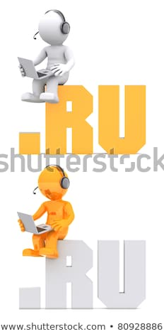 3d character sitting on ru domain sign stock photo © kirill_m