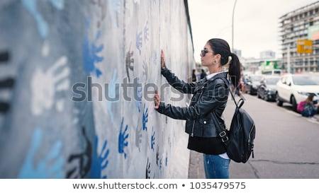 Foto stock: Muro · de · berlín · graffiti · fondo · libertad · concretas · caída