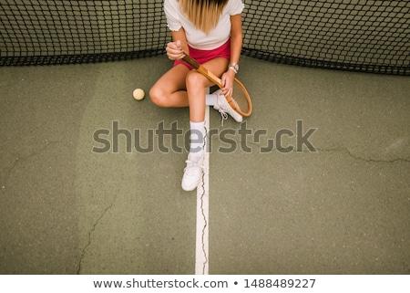 Retro nő teniszütő fehér ruha használt gitár Stock fotó © maros_b