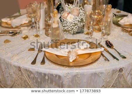 lüks · akşam · yemeği · siyah · beyaz · plaka · düğün - stok fotoğraf © gsermek