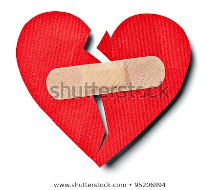 Gebarsten Rood hart gips witte Stockfoto © dvarg
