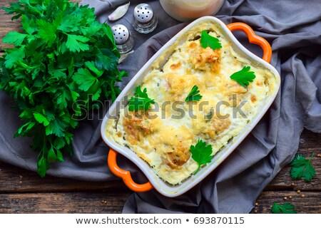 kurczaka · warzyw · selektywne · focus · mięsa · obiad · pie - zdjęcia stock © m-studio