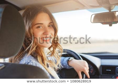 девушки вождения автомобилей Солнцезащитные очки белый Сток-фото © HASLOO