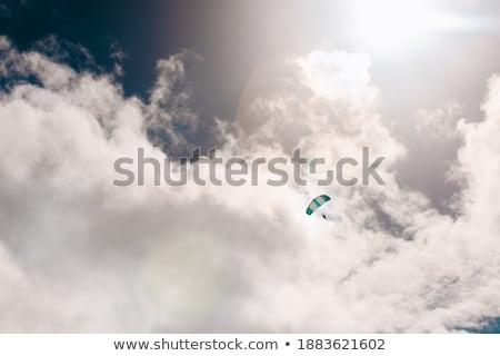 sziluett · kék · ég · felhők · Kaukázus · hegyek · Grúzia - stock fotó © bsani