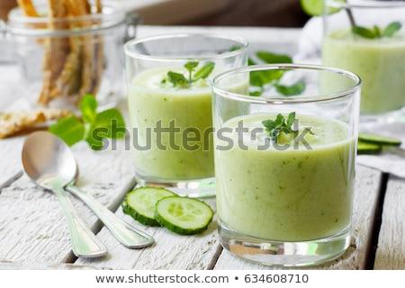koud · soep · zomer · komkommer · ei · plantaardige - stockfoto © yelenayemchuk
