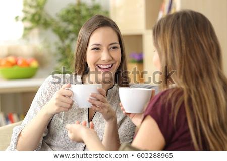 mulher · café · da · manhã · sala · de · estar · sofá · chá - foto stock © Giulio_Fornasar