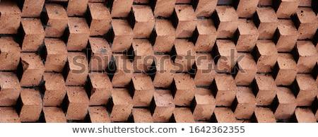 Kırmızı tuğla duvar doku ağaç ahşap Stok fotoğraf © eddygaleotti