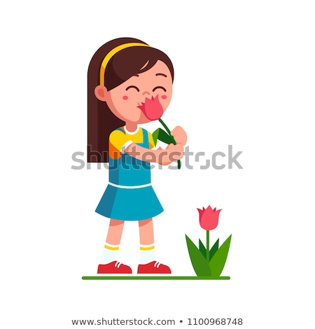 küçük · kız · çiçek · yağmurluk · bot - stok fotoğraf © nyul