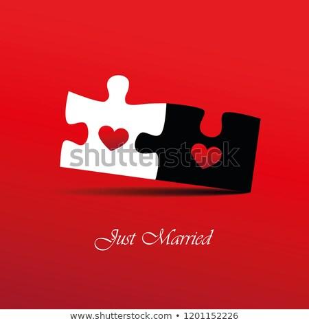 Promettre rouge puzzle blanche foi confiance Photo stock © tashatuvango