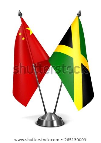 Kína Jamaica miniatűr zászlók izolált fehér Stock fotó © tashatuvango