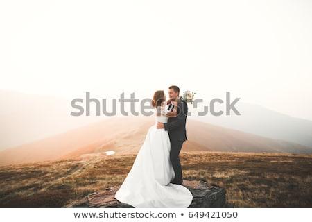 Romantische portret zoenen huwelijk paar hemel Stockfoto © majdansky
