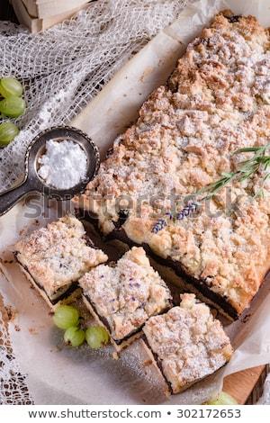 Gourmet coffee blanc mange with gooseberry Stock photo © juniart