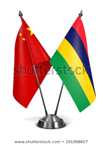 Chiny Mauritius miniatura flagi odizolowany biały Zdjęcia stock © tashatuvango