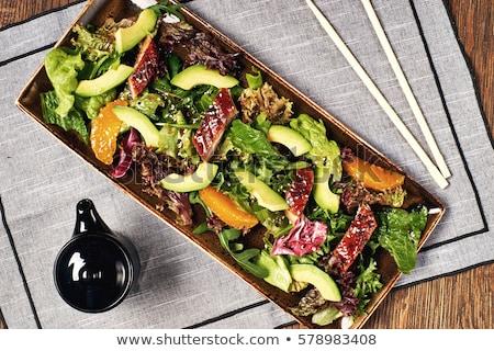 Japonês salada alface carne molho comida Foto stock © art9858
