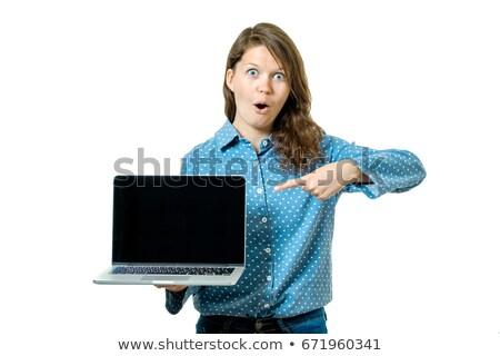 женщины подростку портативного компьютера экране портрет Сток-фото © deandrobot