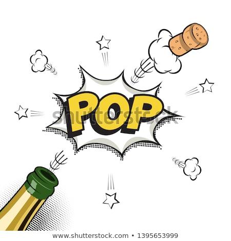 champanhe · cortiça · garrafa · fogos · de · artifício · vinho - foto stock © bigalbaloo