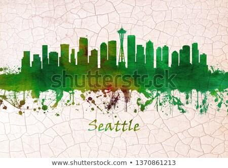 Aquarel kunst print skyline Seattle Verenigde Staten Stockfoto © chris2766