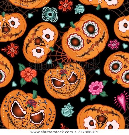 бесшовный · текстуры · иллюстрация · Хэллоуин · лице - Сток-фото © nezezon
