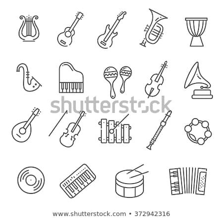 аккордеон линия икона веб мобильных Инфографика Сток-фото © RAStudio