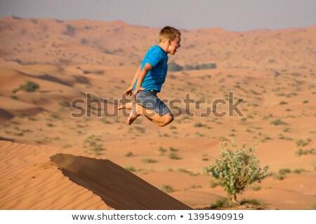 мальчика весело прыжки пляж океана счастливым Сток-фото © meinzahn