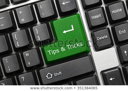 Negro teclado consejos verde clave primer plano Foto stock © michaklootwijk