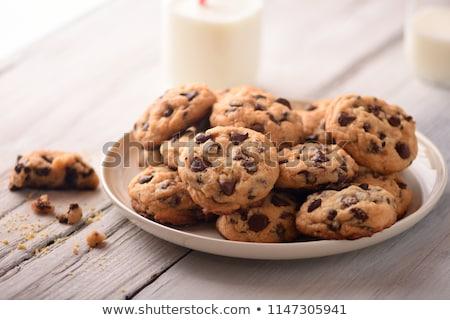Stock fotó: Csokoládé · chip · sütik · friss · eprek · tea