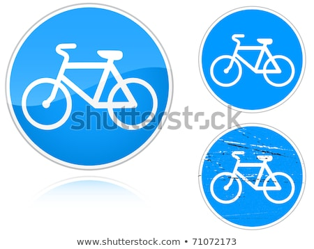 Stock fotó: Bicikli · út · jelzőtábla · szett · izolált · fehér