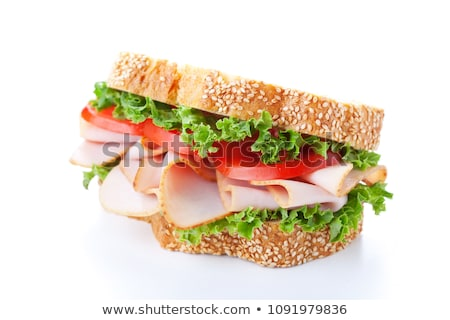 ストックフォト: ハム · サンドイッチ · パン · サラダ · 菜 · プレート