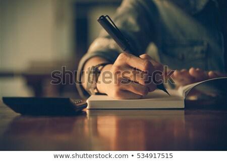 Rechner Notebook Holz Business Papier Stock foto © OleksandrO