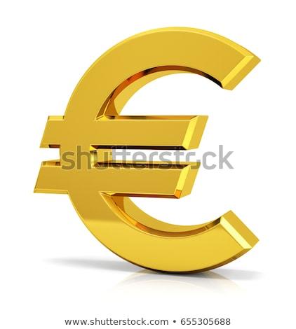 3D · euro · symbool · goud · geïsoleerd · witte - stockfoto © dariusl
