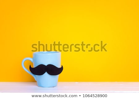 Cup of coffee on blue wood spring background with copy space Stock photo © Yatsenko