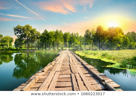 Wooden Bridge On The River Stock fotó © givaga