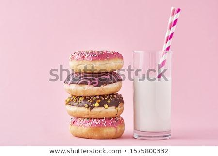 Fánk tej fánkok üveg közelkép otthon Stock fotó © Sibstock
