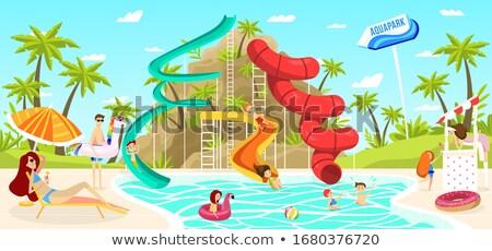Vrouw zonnebaden rock zwembad bikini reizen Stockfoto © IS2