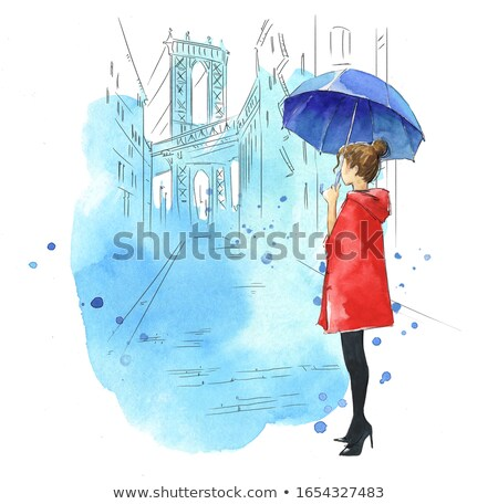Woman with umbrella city scape Stock photo © IS2