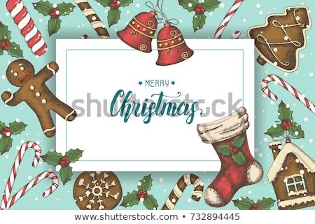Noel bağbozumu kartpostal gingerbread man vektör suluboya Stok fotoğraf © Sonya_illustrations